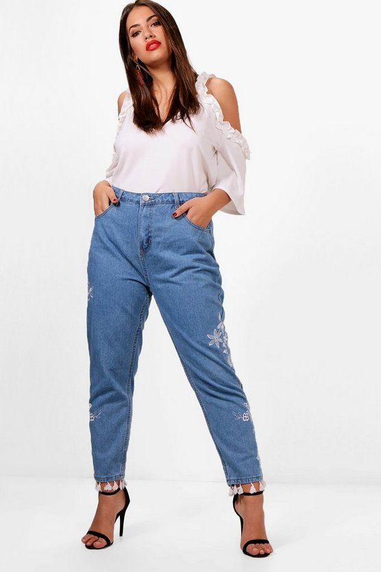 Plus Demi Embroidered Tassel Trim Jeans