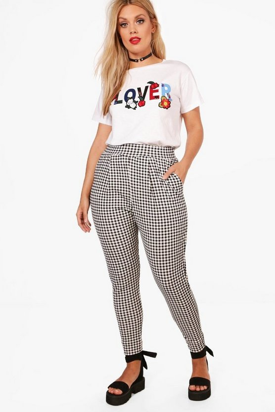 plus anya pantalon imprimé carreaux vichy