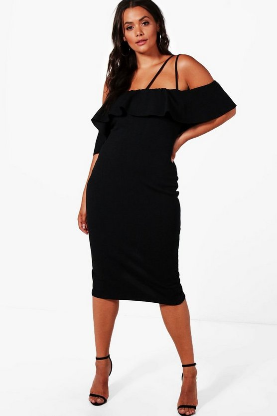 Plus Elise Frill One Shoulder Detail Midi Dress