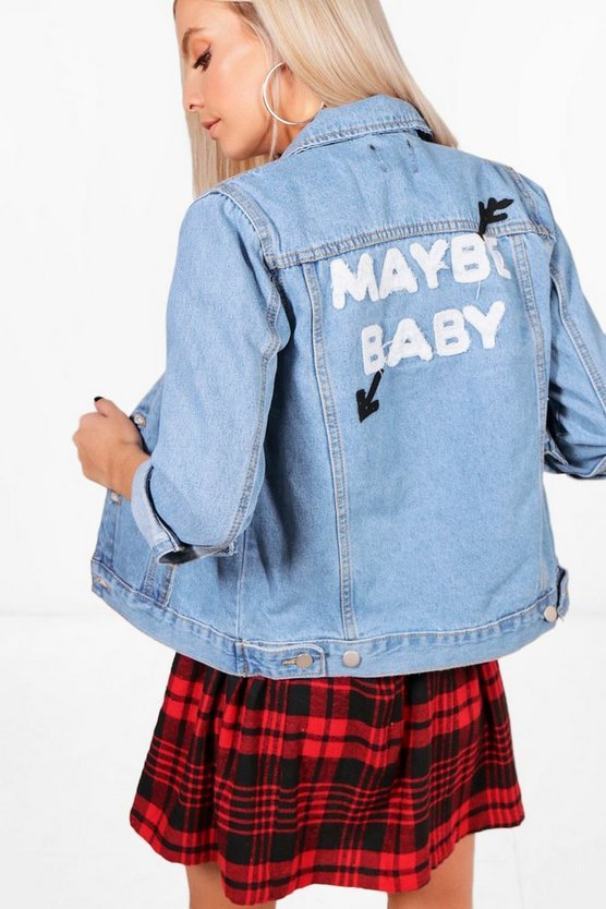 Petite Emma Oversized Slogan Back Denim Jacket