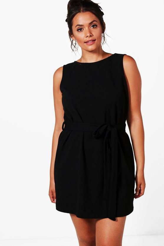 Plus Lena Crepe Sleeveless Tie Waist Midi Dress