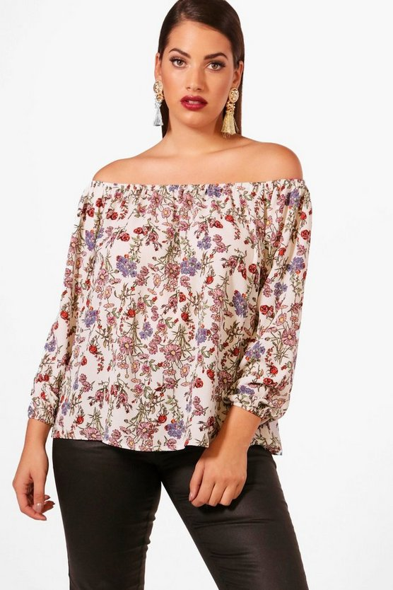 Plus Serena Off The Shoulder Floral Top
