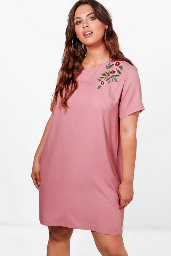 Plus Hollie Embroidered Woven Shift Dress