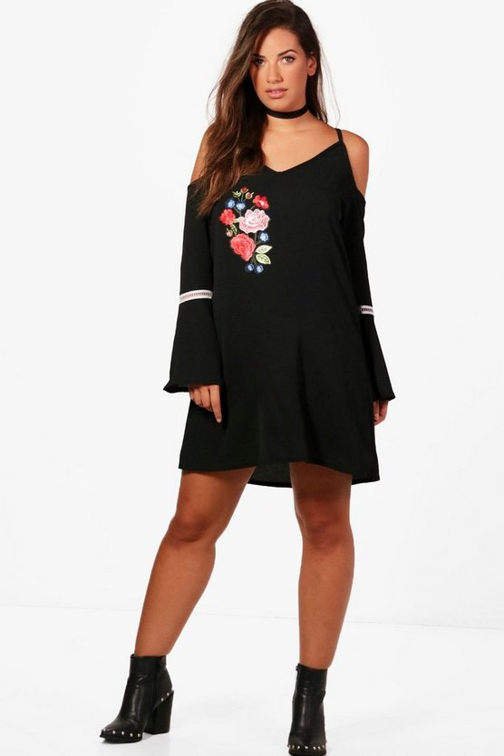 Plus Hannah Embroidered Wide Sleeve Swing Dress