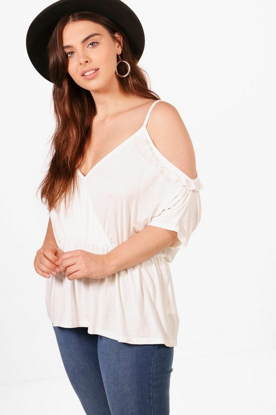 Plus Alex Ruffle Cold Shoulder Top