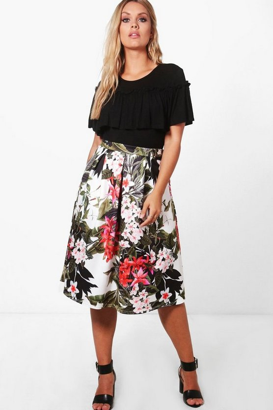 Plus Lottie Floral Midi Skater Skirt