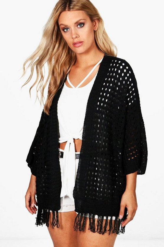 Plus Carla Fringe Trim Cardigan