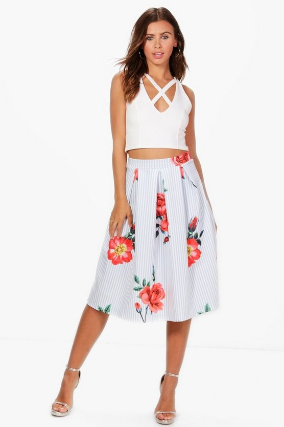 Petite Amy Striped Floral Pleat Midi Skirt
