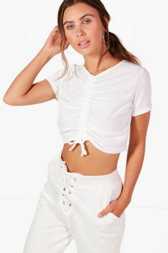 Petite Danni Ruched Drawstring Cropped T-shirt