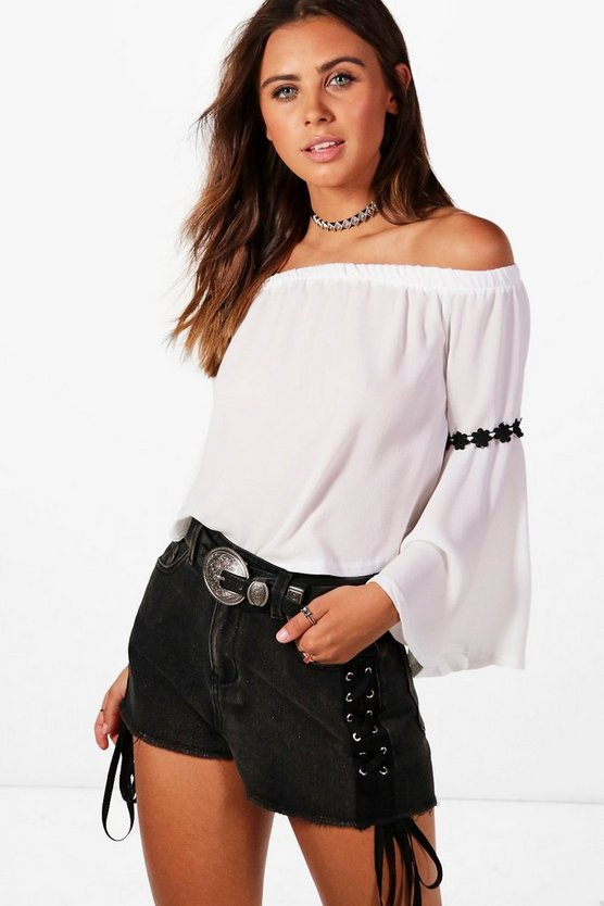 Petite Elise Flower Trim Off The Shoulder Top