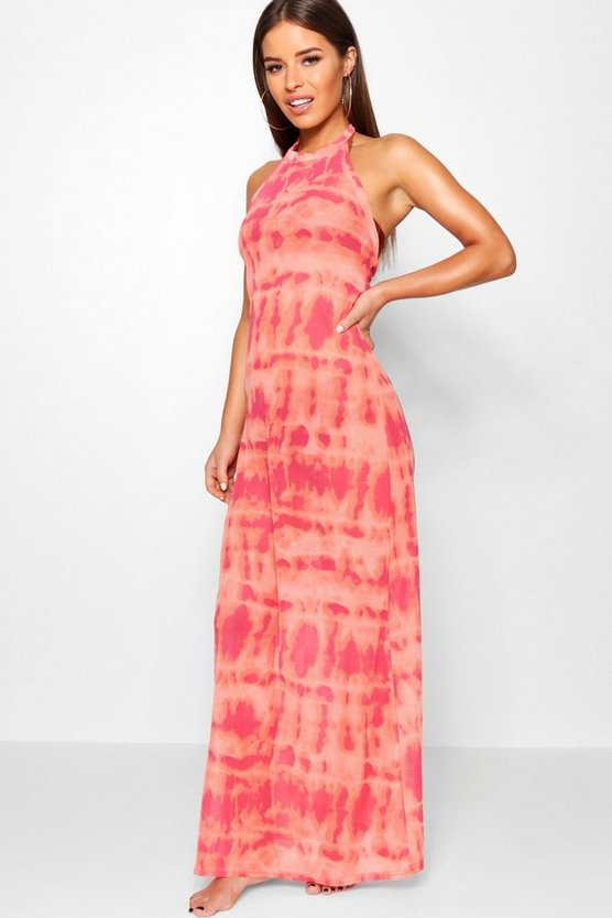 Petite Tie Dye Halterneck Beach Maxi Dress