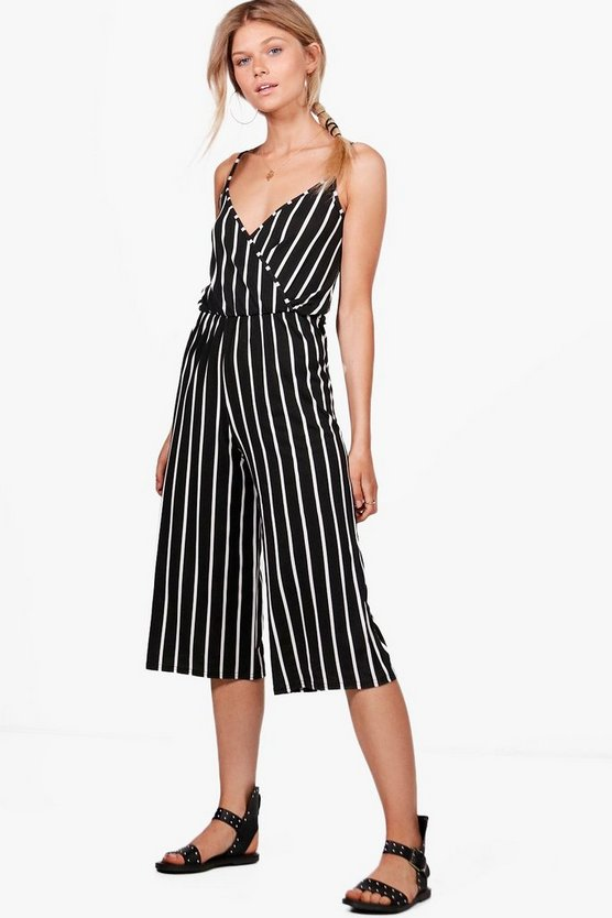 Petite Lisa Striped Culotte Strappy Jumpsuit