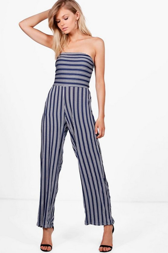 Petite Abi Stripe Wide Leg Strapless Jumpsuit