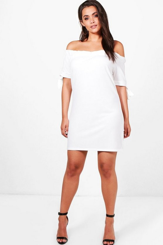 Plus Jess Off The Shoulder Tie Sleeve Dress