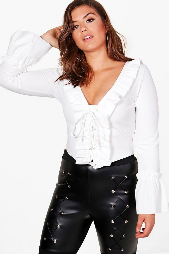 Plus Anna Ruffle Front Crop Top