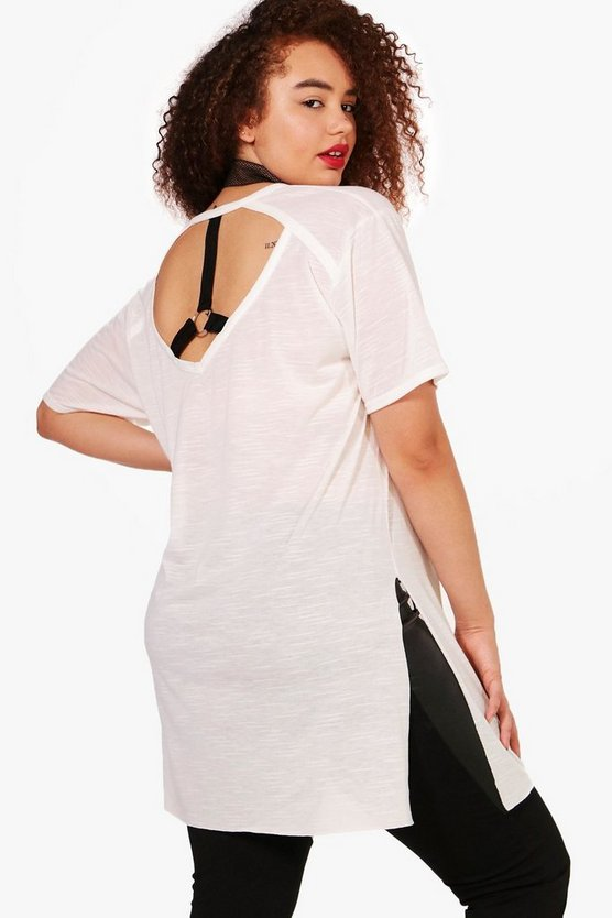 Plus Hannah Knot Front Strappy Back Tee