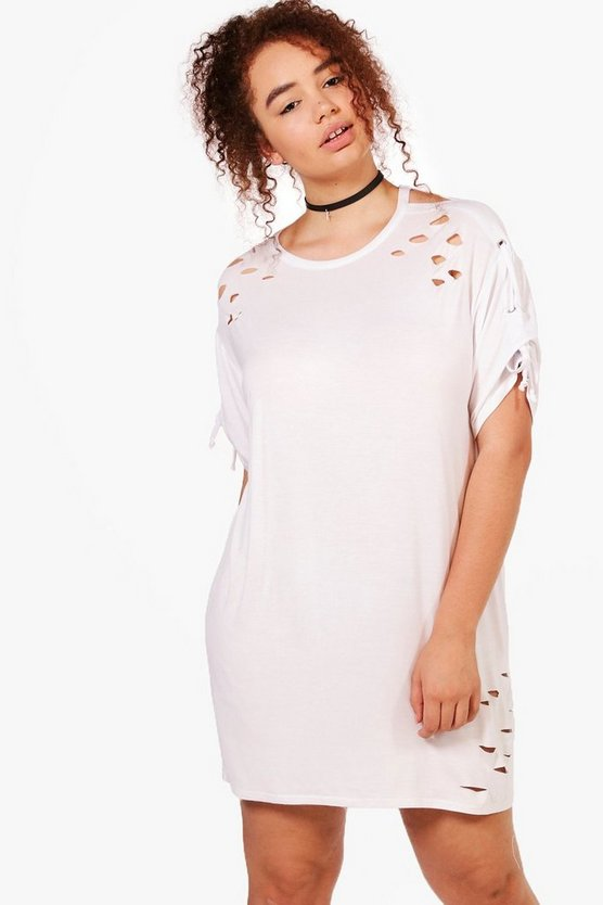 Plus Louise Lace Up Shoulder Oversized T-shirt Dress