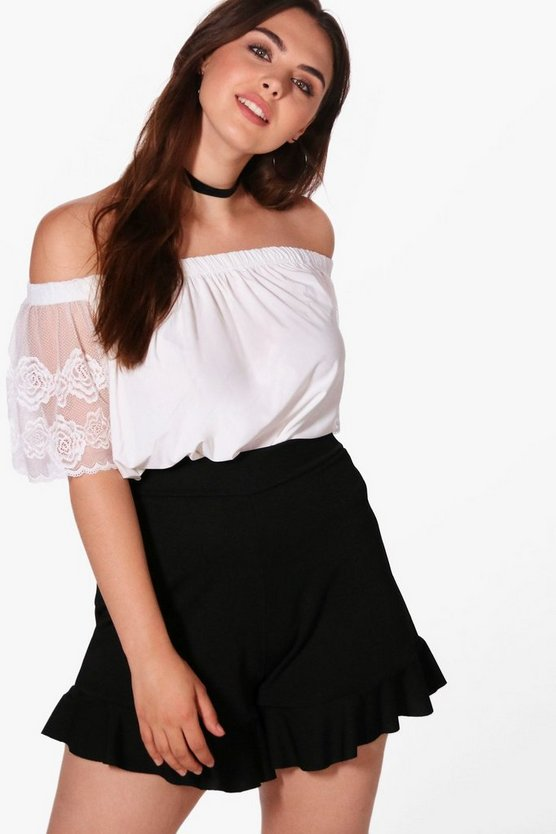Plus Jessica Off The Shoulder Lace Sleeve Top