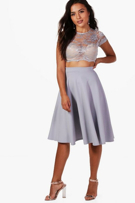 Petite Natasha Lace Crop and Full Midi Skirt Co-ord
