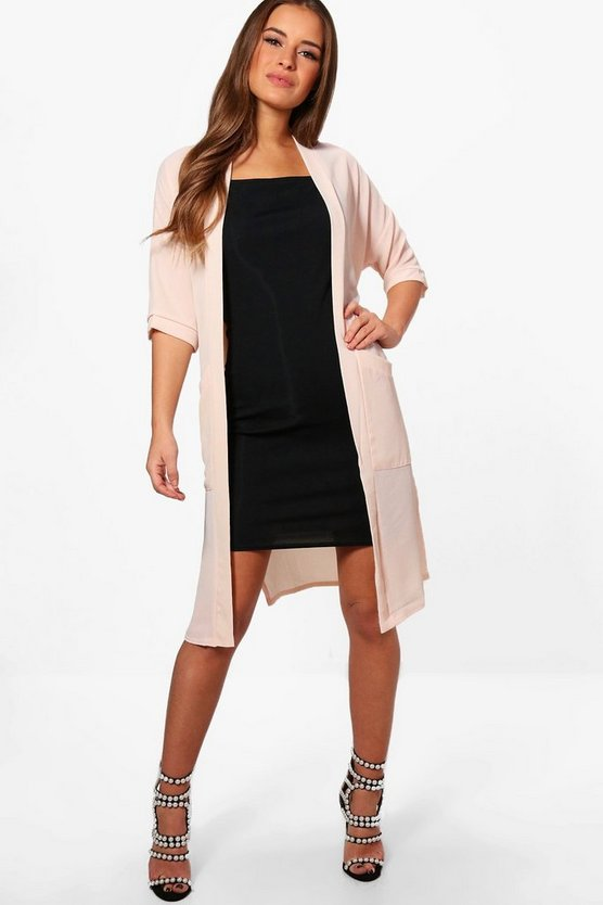 Petite Amelia Chiffon Split Side Duster Jacket