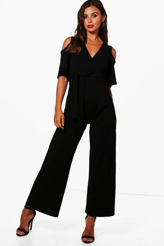 Petite Liza Wrap Cold Shoulder Wide Leg Jumpsuit