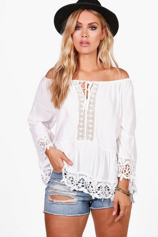 Plus Melanie Crochet Trim Woven Top