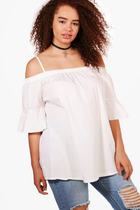 Plus Hana Off The Shoulder Strappy Frill Sleeve Top