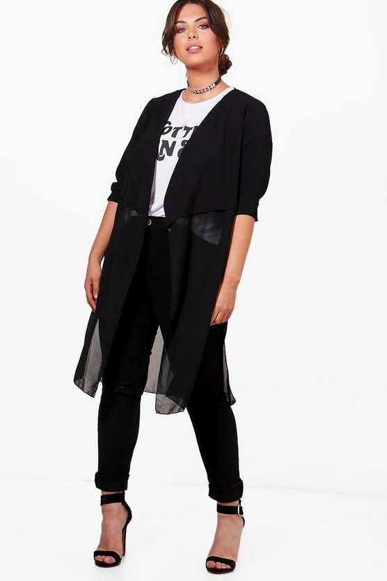 Plus Sandy Chiffon Detail Duster