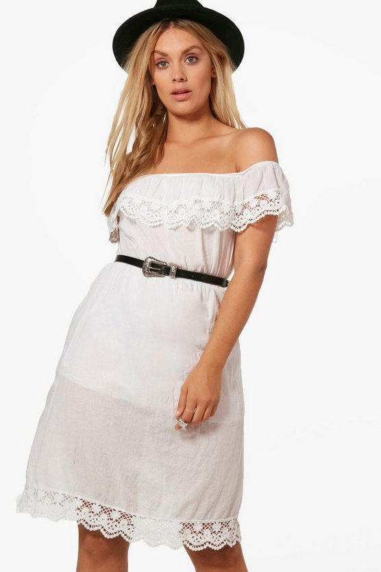 Plus Jane Off The Shoulder Crochet Trim Dress