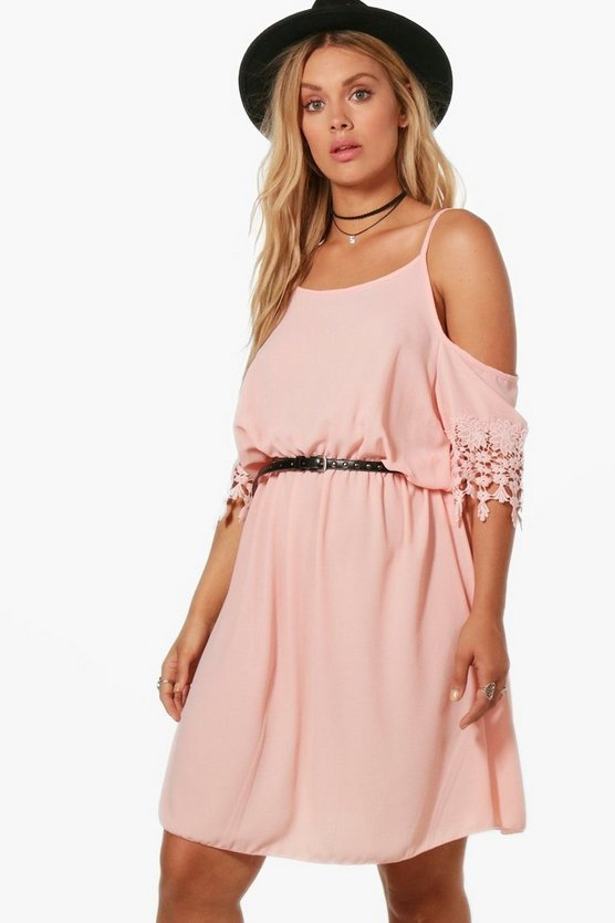 Plus Kerry Crochet Trim Cold Shoulder Dress