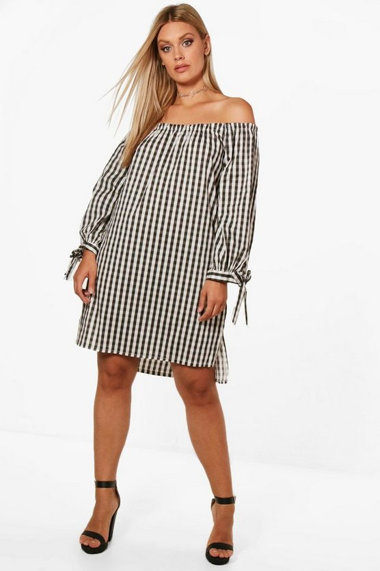 Plus Ava Off The Shoulder Tie Sleeve Gingham Dress