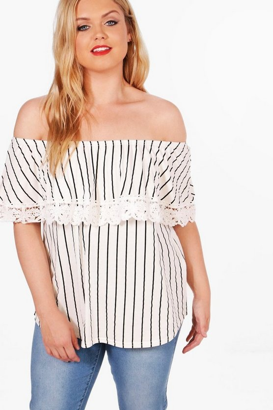 Plus Laura Off The Shoulder Crochet Top
