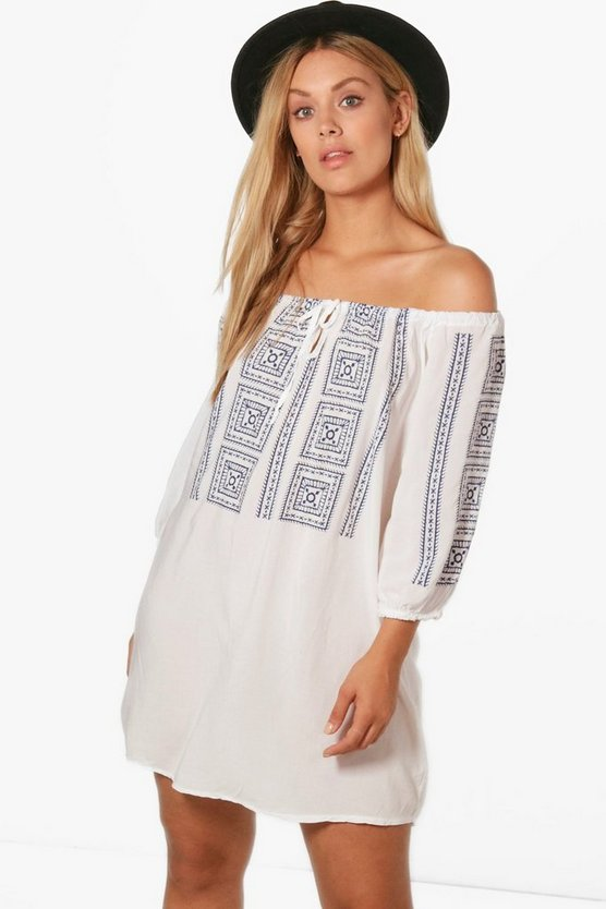 Plus Angela Off The Shoulder Embroidery Print Dress
