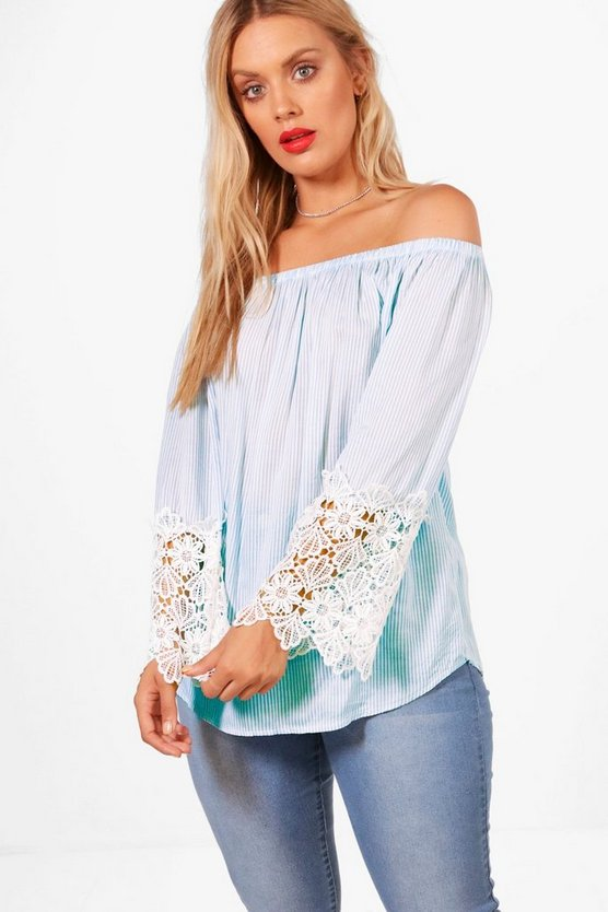 Plus Ebony Off The Shoulder Stripe Crochet Top