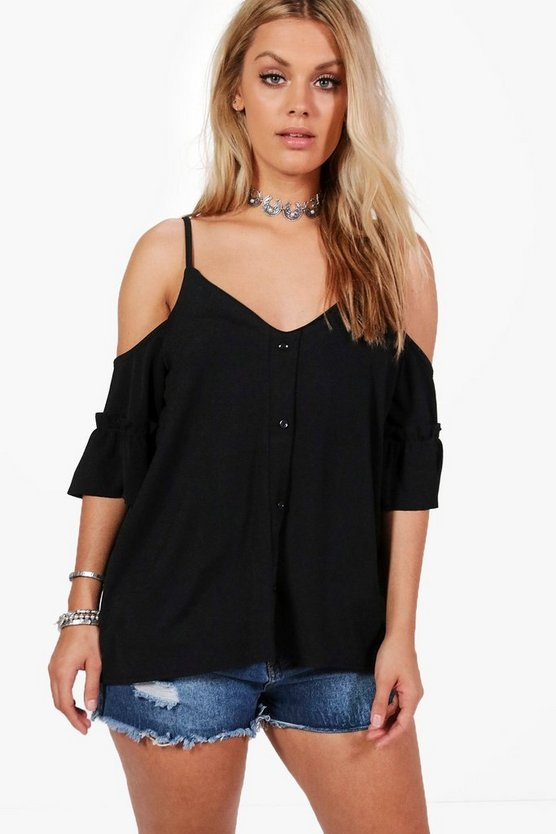 Plus Louisa Frill Cold Shoulder Button Front Top