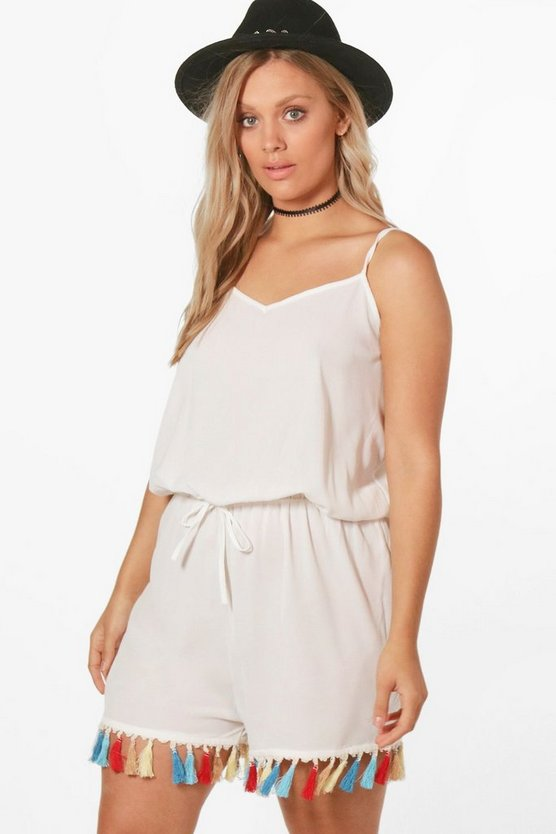 Plus Lena Tassle Trim Tie Front Playsuit