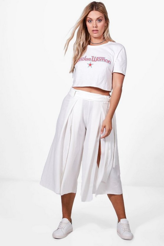 Plus Belted Split Front Culottes
