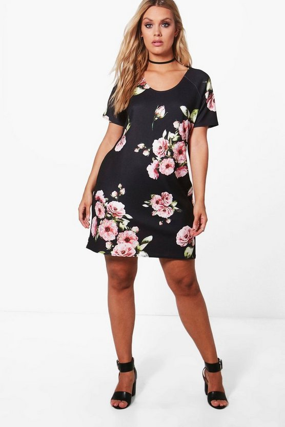 Plus Lottie Floral Cap Sleeve Shift Dress
