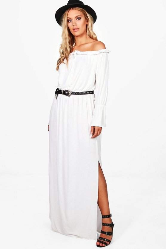 Plus Josie Off The Shoulder Front Tie Maxi Dress