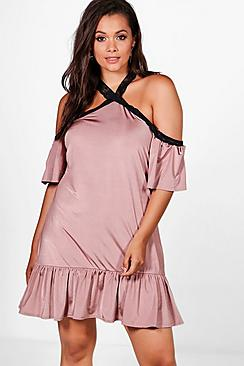 Plus Elsa Ruffle Hem Open Shoulder Dress