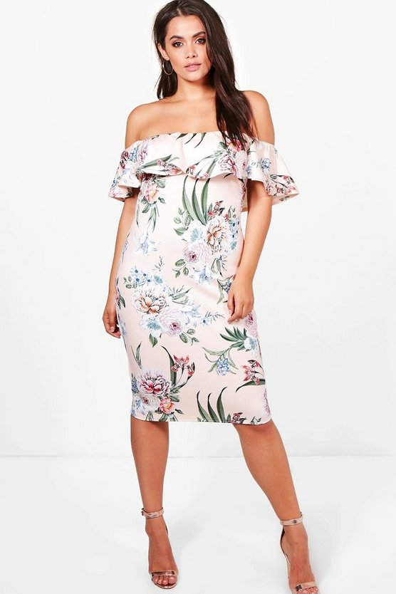 Plus Ella Double Layer Floral Midi Dress