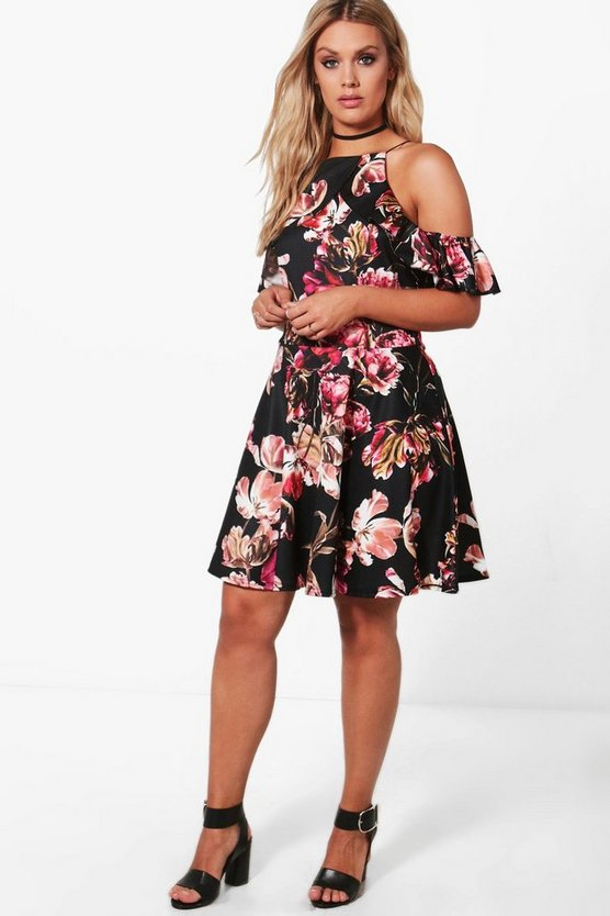 Plus Alice Floral Open Shoulder Skater Dress