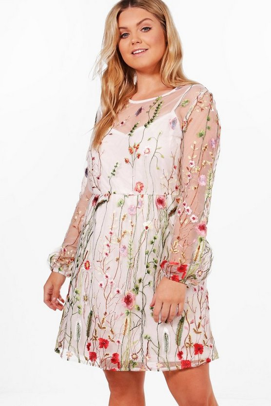 Plus Rachel Embroidered Skater Dress