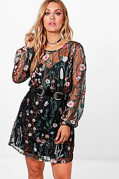 Plus Maria Embroidered Skater Dress