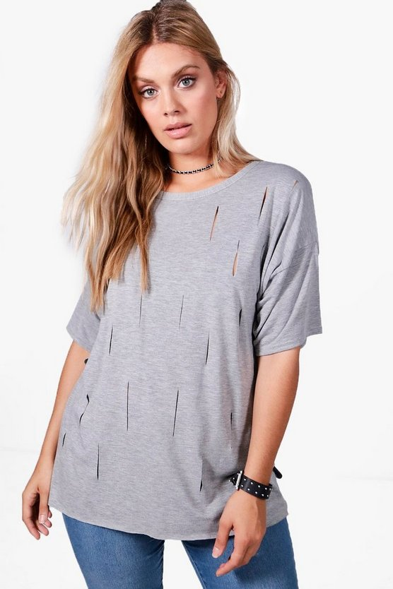 Plus Kara Slash Front Oversized T-Shirt