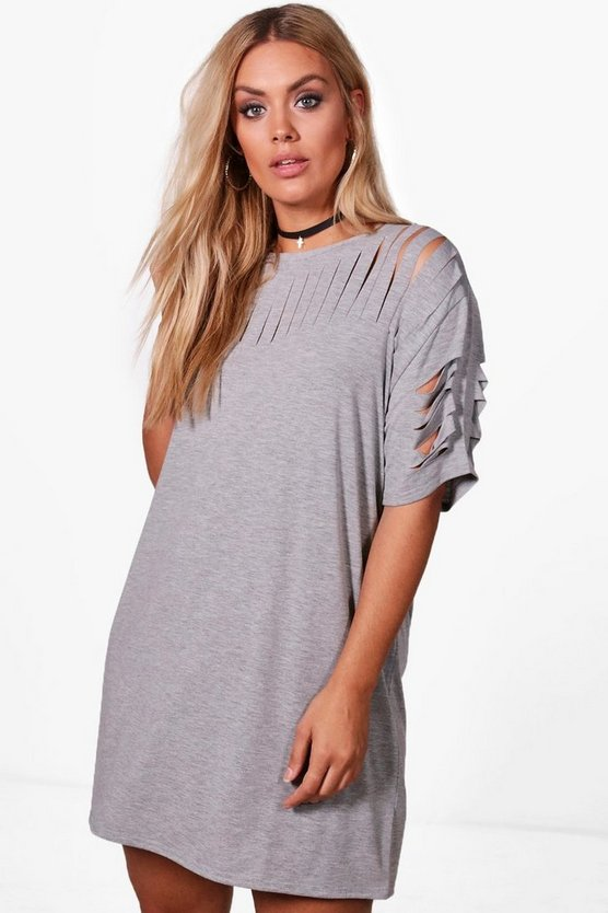 Plus Katey Slash Front T-Shirt Dress