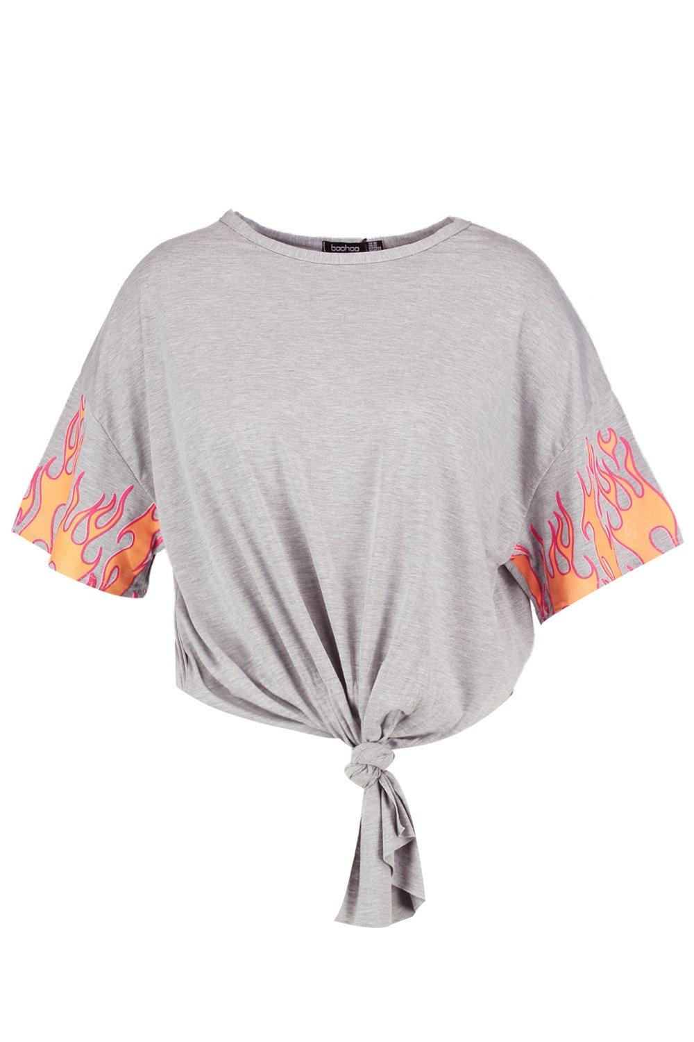NEW-Boohoo-Womens-Plus-Maddy-Flame-Knot-Front-Tee-in
