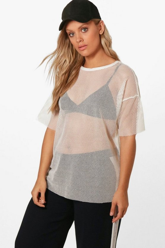 Plus Fiona Oversized Mesh T-Shirt