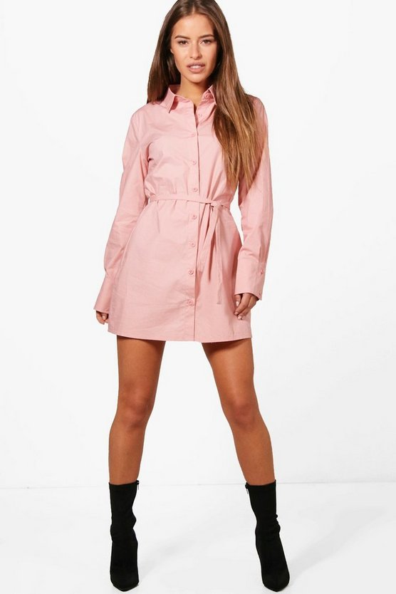 Petite Lilian Tie Sleeve Shirt Dress