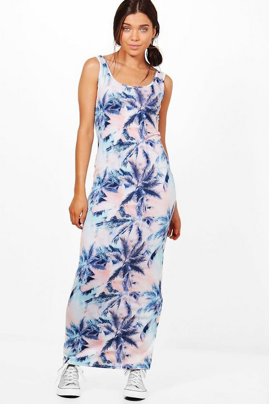 Petite Olivia Palm Print Maxi Dress